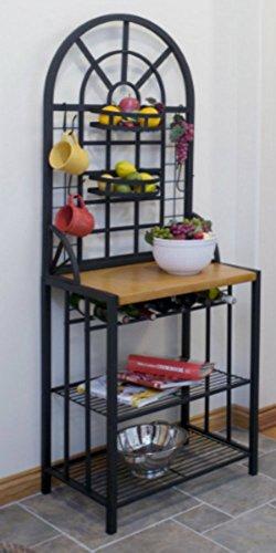 Steel Bakers Rack Wine Display Dining Bar Storage Shelves Kitchen Dome Black