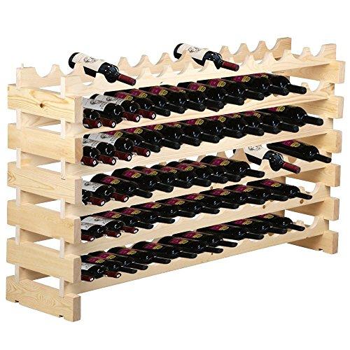 Yaheetech Wine Rack 72 Bottles Stackable Storage 6 Tier Solid Wood Display Shelves