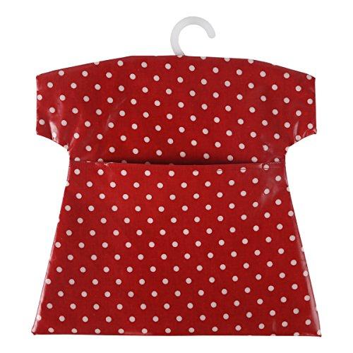 Neoviva Waterproof Clothespin Peg Bag with Plastic Hanger Polka Dot Wine Red