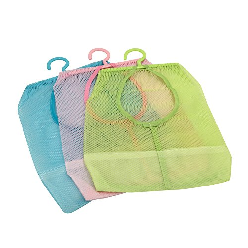 TuuTyssMultipurpose Clothespin Bag with HangerHanging Storage Mesh Bag for Home Over the Door Pack of 3-bluegreenpink