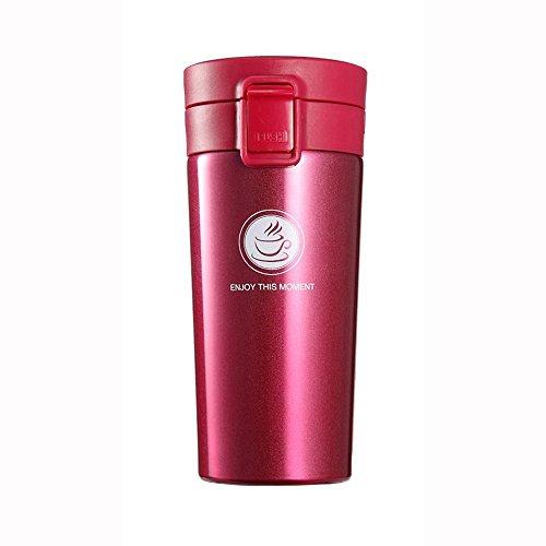 Sendia Vacuum Insulated Stainless Steel Commuter and Travel Mug with Tea Leaf Filter for Coffee  Tea  Milk  Juice 13oz 380ml Dark Rose Red
