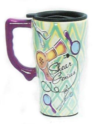 Shear Genius Barber Hair Dresser Stylist Ceramic Coffee Cup Tea Commuter Travel Mug Hairdresser New