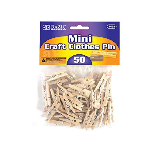 5 Pk BAZIC Mini Natural Clothespins Wood 50 Per Pack