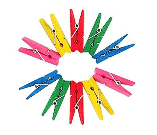50PCS Mini Wooden Colourful Wood Clothespin Memo Paper Clamp Clips Folder Clothespins Photo Postcard Peg Craft DIY Clip Hanger Clips Multicolour