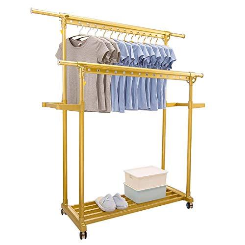 GYTOO Clothes Airer Aluminum Alloy Double Pole Single Floor Floor Drying Rack Indoor and Outdoor Balcony Home Floor Rack with Wheels