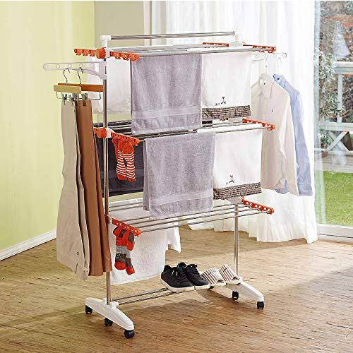 HYMY Clothes Drying Rack Indoor Foldable Clothes Airers Indoor Adjustable Wings Clothes Dryer Rack 3-Layer Stainless Steel Drying Rack with 6 Universal Wheels MovableOrange