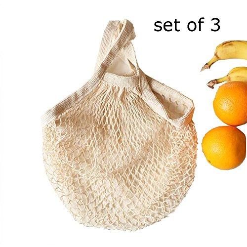 Ahyuan Reusable Grocery Bags Cotton String Bag Mesh Bags Set of 3