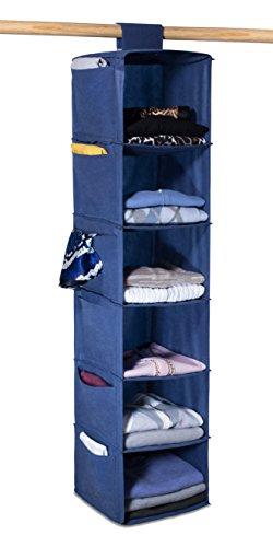 6 SHELF HANGING SWEATER CLOSET CLOTHING ORGANIZER BLUE