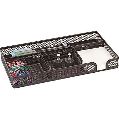 1InTheOffice Desk Drawer Organizer Tray Black Wire Mesh 5-Compartment