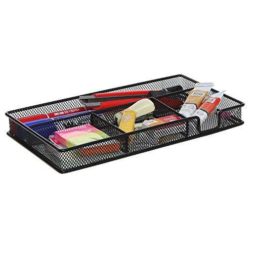 Black Metal Wire 4 Compartment Office Desk Drawer Organizer Tray  Open Storage Bin Basket Rack - MyGiftÂ