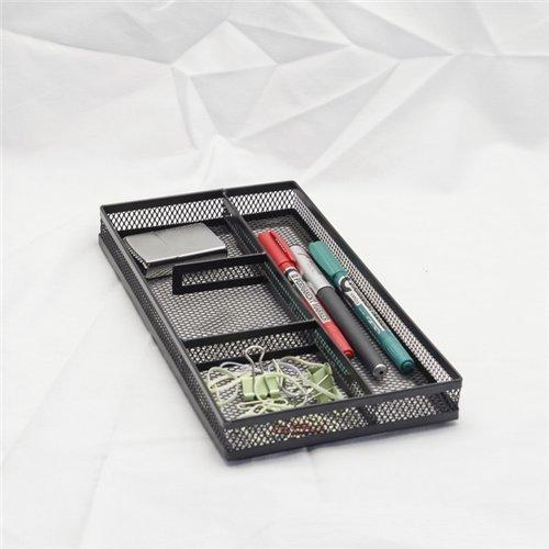 Stock Show Black Metal Mesh Wire 4-Compartment Office Desk Drawer OrganizerKitchen TrayOpen Storage BinMemo BasketClips RackNote Pads Holder