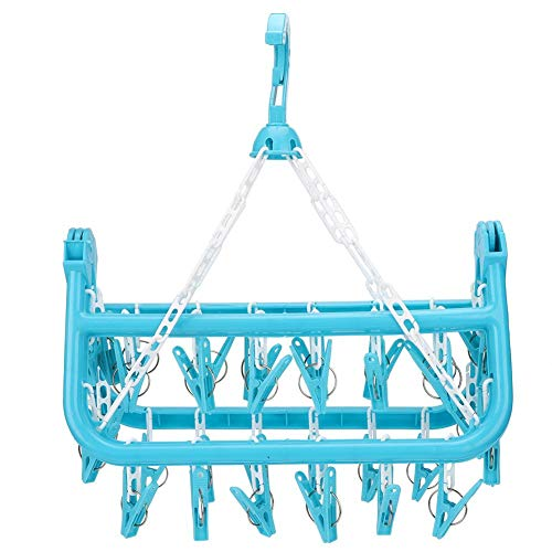 Yosooo Clothes Hanger Laundry Drying Rack Clothes Dryer Rack Household 32 Clips Folding Clothes Hanger Dryer Socks Underwear Drying RackBlue