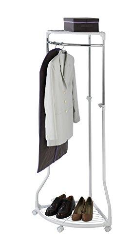Unique Adjustable Rolling Corner Clothes Rack With Mesh Shelves