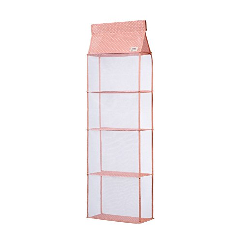 Fieans Multifunctional Wardrobe Space Saving Handbag Hanging Organizer Fabric Hanging Closet Storage Organizer for Handbags-Pink 4 Pockets