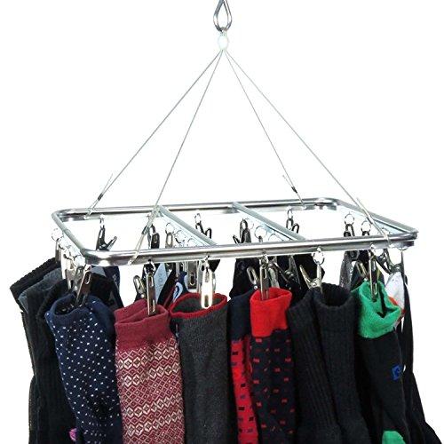 HANGERWORLD 26 Peg Aluminium Metal Hanging Laundry Socks Lingerie Clothes Portable Indoor Outdoor Airer Dryer