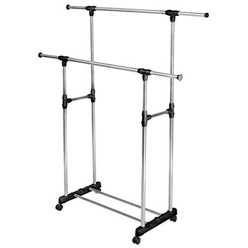 Double Adjustable Portable Clothes Rack Hanger Extendable Rolling-HEAVY DUTY