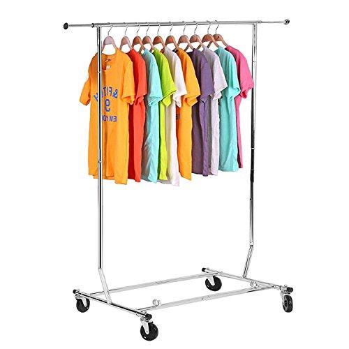 Eshion Adjustable Rolling Steel Clothes Hanger Drying Display Organizer Garment Rack Heavy Duty Rail US STOCK Silver
