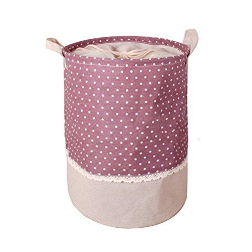 Fieans CottonLinen Foldable Laundry Basket Storage Bag Dot Practical Bag Storage Bin Basket-Purple