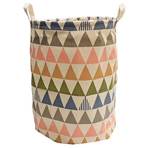 Hangnuo Portable Foldable Laundry Basket Cotton Linen Toys Bin Basket Household Storage Organizer Colorful Triangle