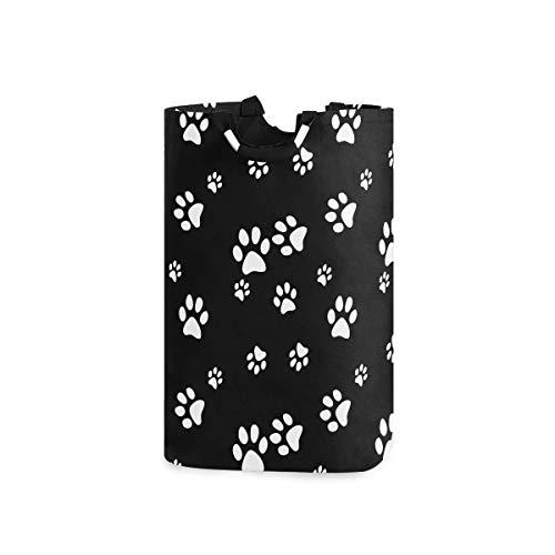 SEULIFE Laundry Hamper Cute Animal Dog Paw Print Black Laundry Basket Washing Clothes Hamper Collapsible Storage Bin Foldable Shopping Bag Toy Book Holder