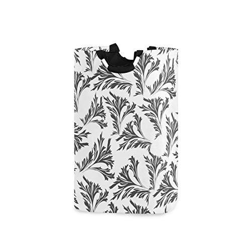 SUABO Leaves Black Laundry Basket Collapsible Fabric Laundry Hamper Washing Bin Folding Clothes Bag