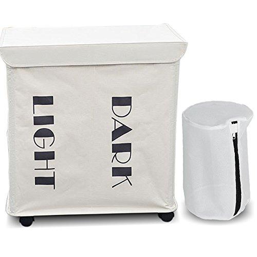 ZERO JET LAG Slide Foldable Double Laundry Hamper Oxford Cloth Handy Laundry Basket Bag 2pcs with Lid Wheels 217 x 142 x 236 White