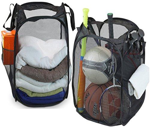 2 Pack - SimpleHouseware Mesh Pop-Up Laundry Hamper Basket With Side Pocket Black