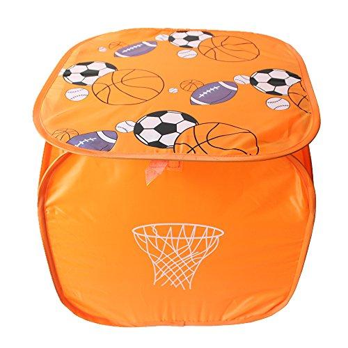Dolphineshow 177x177 Inches Square Folding Nylon Mesh Laundry Basket with Soccer Pattern Lid Orange