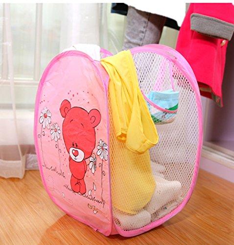 Fashionclubs Cartoon Red Bear Pop up Hamper Foldable Mesh Laundry BasketBaby Toys Organizer Basket
