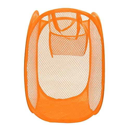 Mesh Laundry Basket Mejoy Pop-Up Laundry Hampers Travel Hampers Toy Storage Basket For Clothes Games Toys Linen Crafts Sports Equipment 118 x 118 x 197 Orange