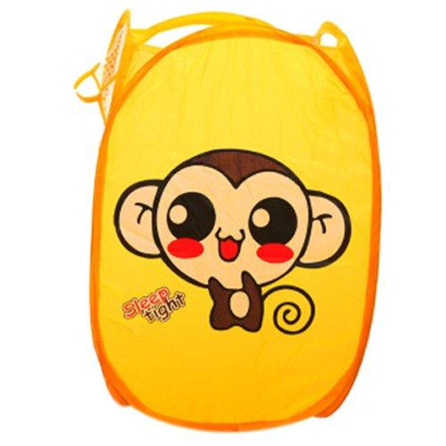 Mesh Laundry Basket - TOOGOORFoldable Pop Up Washing Clothes Laundry Basket Bag Bin Hamper Mesh Storage Cute Yellow Monkey
