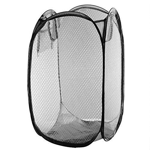 OUNONA Pop-Up Laundry Hamper Collapsible Foldable Mesh Laundry Basket Bin Black