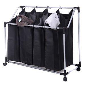 Kize Laundry Sorter Hamper Clothes 4-Bag Storage Basket Bin Organizer Washing BagBlack