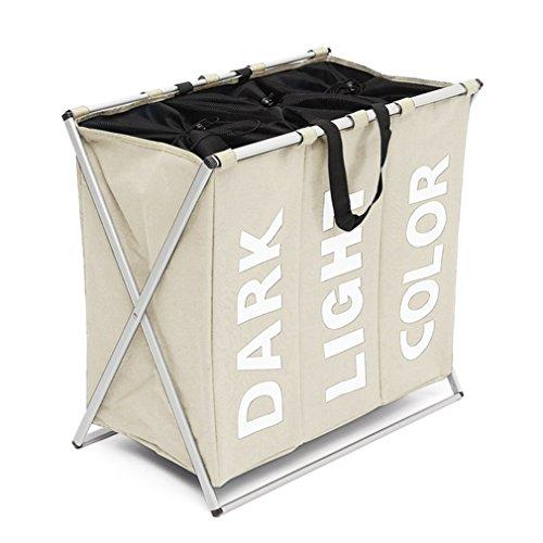 FORSHUYU 3 Section Laundry Basket Bag Foldable Laundry Hamper With Alloy Frame Grey