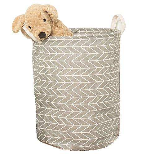 Laundry Hamper Didihou Cotton Linen Drawstring Waterproof Collapsible Laundry Basket Storage for Bedroom Nursery Dorm or Closet Grey