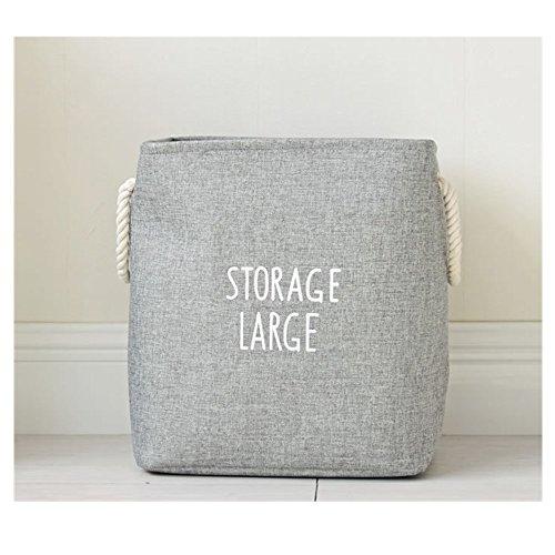 S Kaiko Cotton Linen Foldable Collapsible Laundry Hamper Laundry Bin Laundry Basket Nursery Hamper Storage Bin Toy Storage Organizer with Handle Grey