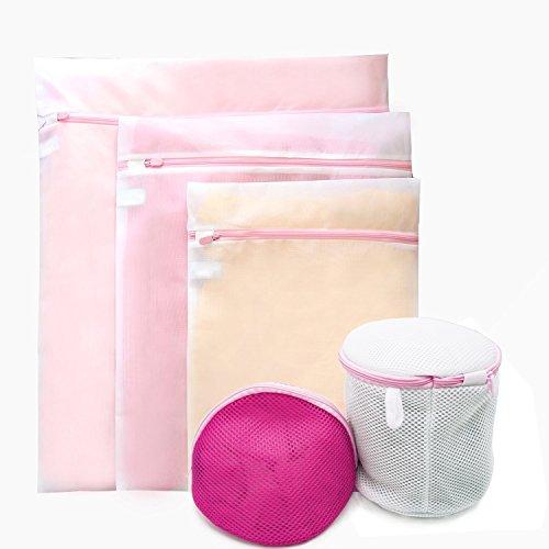 Set of 5 Garments Laundry Bag Premium Mesh Wash Bag - Bra Laundry Bag - Large Medium Small for Washing MachineDryer Lingerie Washer Baby Clothes Underwear Organizer Travel