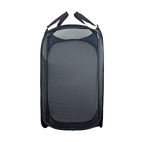 CHUANGLI Foldable Pop Up Mesh Washing Laundry Basket Bag Hamper Toy Tidy Storage 36 x 36 x 60cm Navy