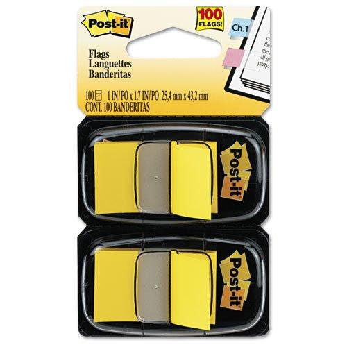 Post-it Flags - Standard Tape Flags in Dispenser Yellow 100 FlagsDispenser 680-YW2 DMi PK