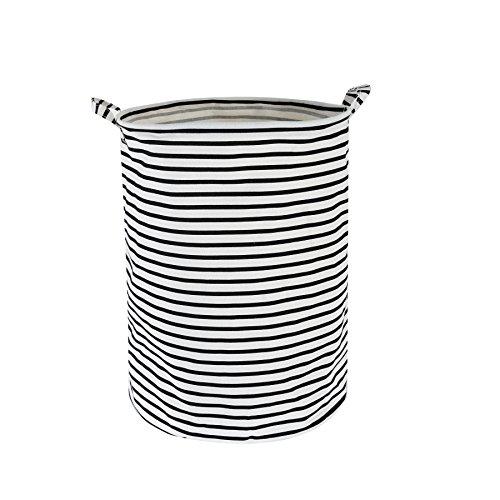 Efivs Arts Fabric Foldable Household Storage bin jumbo Round Laundry Basket hamper closet storage black strip