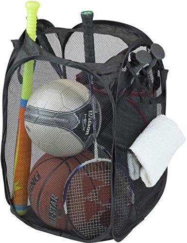 SimpleHouseware Mesh Pop-Up Laundry Hamper Basket With Side Pocket Black