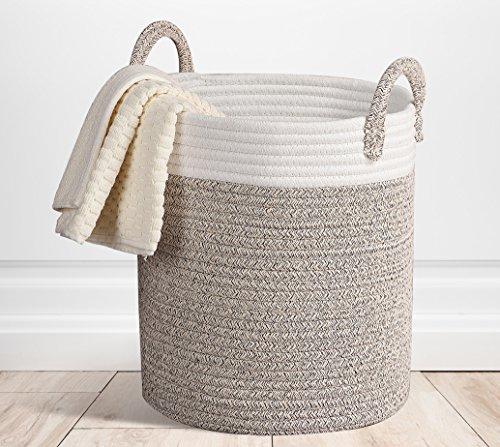 Storage Baskets Terracotta Woven Basket Cotton Rope Decorative Baskets for Laundry Toy Storage Closet