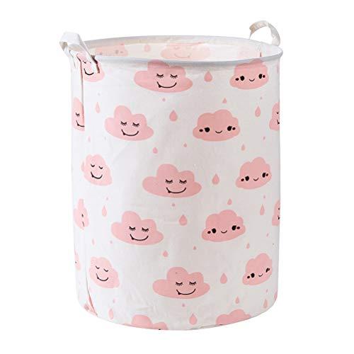 Fieans Cotton Linen Laundry Basket Nursery Cute Storage Bins Collapsible Toys Organizer - Pink