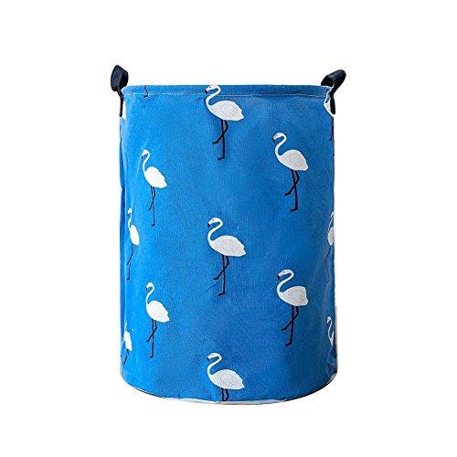zdfYYkzdf Multi-Purpose Portable Cotton Linen Laundry Basket Dirty Clothes Storage Home Bathroom Decor Blue