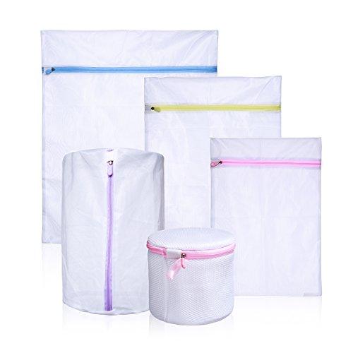 Set of 5 Mesh Delicates Laundry Bags Lingerie Washing Bag Travel Storage Bag White