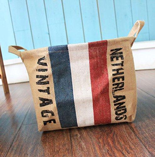 Fashion Flag Pattern Sundries Barrels Inner PE Mold Proof Coating Laundry Storage Laundry Bucket Basket Netherlands