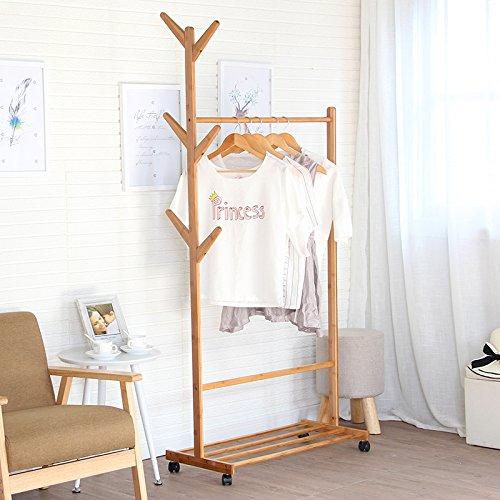 Simple creative coat rack hanger wood floor the living room bedroom clothes shelf mobile storage rack coat rack