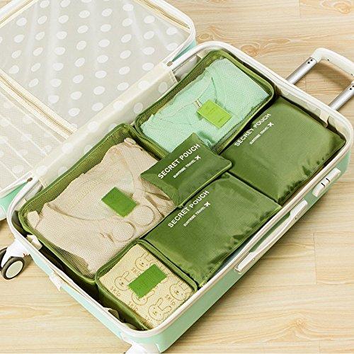 EINGE 6 Set Cubes Compression Travel Luggage Organizer-Clothe Storage Bag-Travel pouch -Laundry Bag green