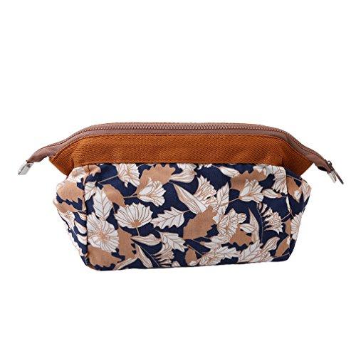 GUAngqi Women Portable Cute Multifunction Beauty Travel Make Organizer Case Make Up Laundry Pouch Toilet BagCoffee lotus