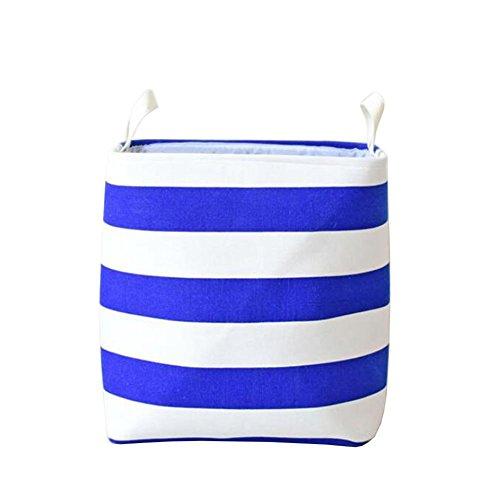 TSAR003 Eva Thickened Striped Dirty Clothes Basket Or Laundry Hamper Toy Clothing Finishing Basket  Blue